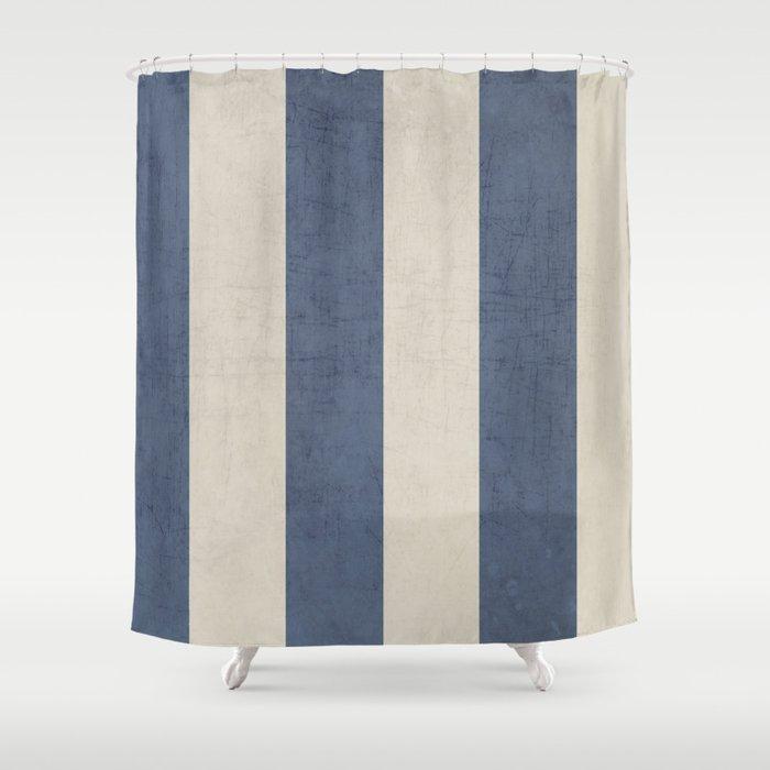 Vintage Dark Blue Stripes Shower Curtain By Her Art Society6