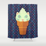Shower Curtain featuring Strawberry-Mint Cat by BadOdds