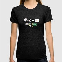 Road Trip Womens Fitted Tee Tri-Black SMALL