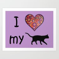 I Heart My Cat Art Print