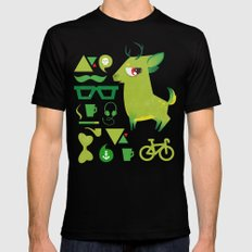 Hipsdeer (green) SMALL Mens Fitted Tee Black