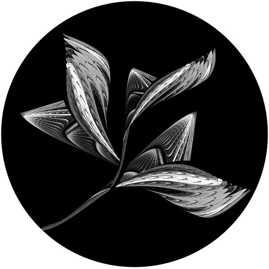 Embroidered Flower - black-and-white Art Print