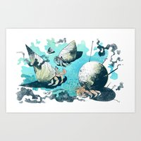 Keeping Up With The Crabs Art Print