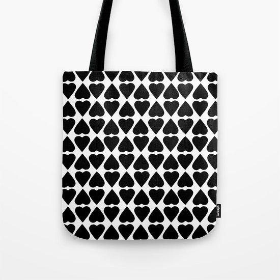 Diamond Hearts Repeat Black Tote Bag