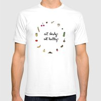 Eat Slowly, Eat Healthy.… Mens Fitted Tee White SMALL