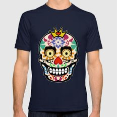 Happy Calaveras Mens Fitted Tee Navy SMALL