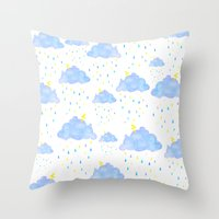 Gouache Rainclouds Throw Pillow