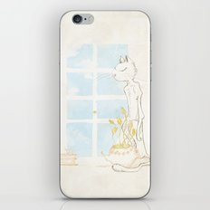Cat Smelling Flower iPhone & iPod Skin