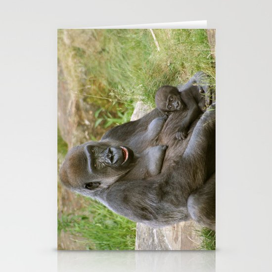 Gorilla Mother and Baby Stationery Card