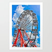 Red, White & Blue Ferris Wheel at the Fair Art Print