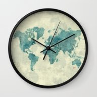World Map Blue Vintage Wall Clock