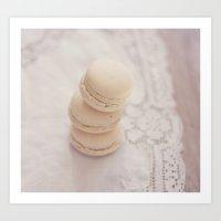 Vanilla Macarons Art Print