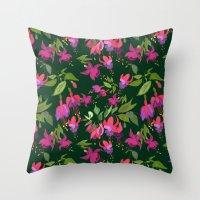 April Blooms(Fuchsia)  Throw Pillow