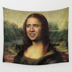 Nicholas Cage Mona Lisa face swap Wall Tapestry