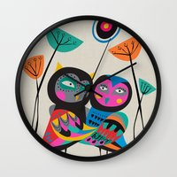 Owls hugging Wall Clock