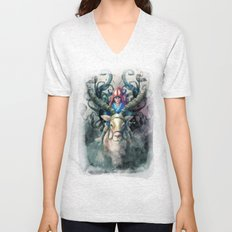 Ashitaka Demon Watercolor Digital Painting Unisex V-Neck