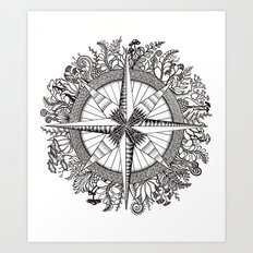 Brújula Frondosa Art Print