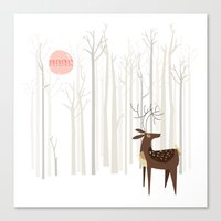 Reindeer of the Silver Wood Canvas Print
