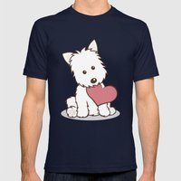 Westie Dog With Love Ill… Mens Fitted Tee Navy SMALL