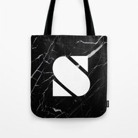 Black Marble - Alphabet S Tote Bag