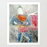 superman Art Prints featuring Superman by Jennifer Cooper