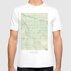 Tuscon Map Blue Vintage Mens Fitted Tee SMALL White