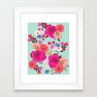 Sweet Pea Floral Aqua Multi color Framed Art Print