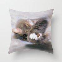 My Cat Actually Sleeps This Way Throw Pillow
