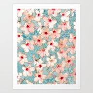 Shabby Chic Hibiscus Pat… Art Print