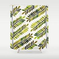 Green Leaflets Shower Curtain