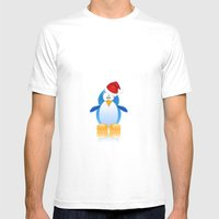 Santa Penguin Mens Fitted Tee White SMALL