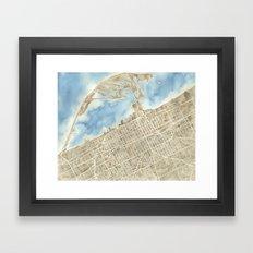 Watercolor Map Erie Pennsylvania sepia and indigo Framed Art Print
