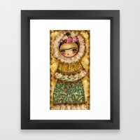 Frida In A Brown And Gre… Framed Art Print