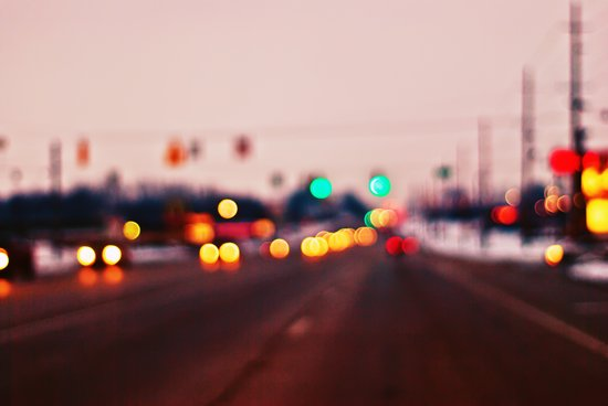 City Lights Bokeh Art Print