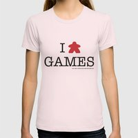 I Meeple Games Womens Fitted Tee Light Pink SMALL