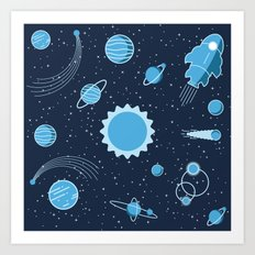Rocket In Space Art Print