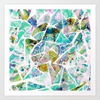 Marbled Earth Blue Art Print