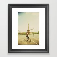 Woman On Bicycle In Berl… Framed Art Print