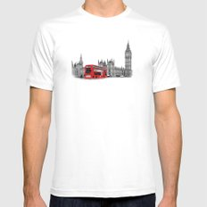 Black and White London with Red Bus Mens Fitted Tee SMALL White