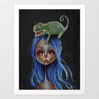 Little Chameleon Head Art Print