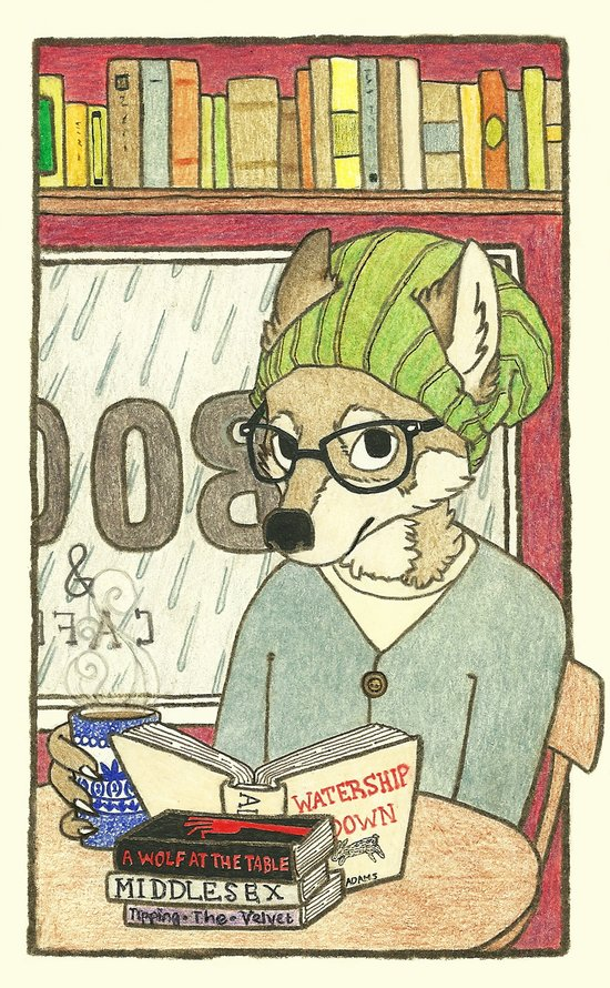 Emy The Wolf Who Loves Coffee and Good Books Art Print