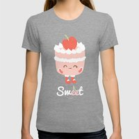 Sweet Cherry Cake Womens Fitted Tee Tri-Grey SMALL