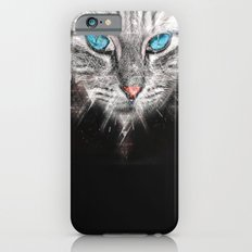 Silver Abstract Cat Face with blue Eyes iPhone 6 Slim Case