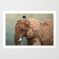Brotherly- Elephant And … Art Print