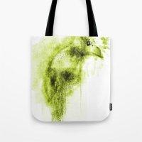 Splatter Bird Green Tote Bag