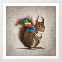 A Funny Squirrel With A … Art Print