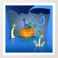Halloween - Cat On Pumpkin Art Print