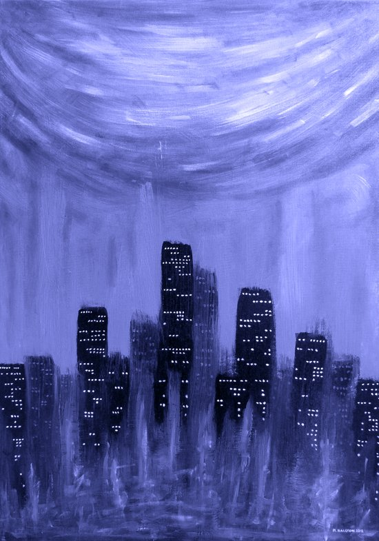 City of Fire ~ Blue  Canvas Print