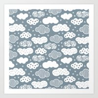 Raw geometric clouds blue sky illustration pattern Art Print