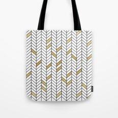 Gold Color Block Chevron Tote Bag